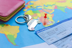 Booking travel concept with tickets on map background Royalty Free Stock Photo