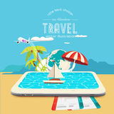 Booking travel through your mobile device Stock Images