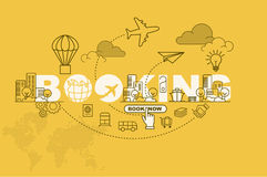 Booking website banner concept with thin line flat design Royalty Free Stock Image