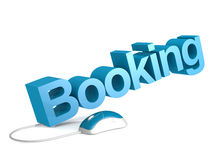 Booking word with blue mouse Royalty Free Stock Photo