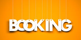 Booking word suspended by ropes on orange background. 3d illustration Royalty Free Stock Photos