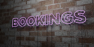 BOOKINGS - Glowing Neon Sign on stonework wall - 3D rendered royalty free stock illustration. Can be used for online banner ads and direct mailers Royalty Free Stock Photos