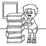 Bookish child coloring page. Hand drawn boy with many books coloring page for kids Stock Image