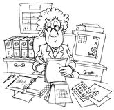 Bookkeeper. Black and white illustration: bookkeeper sitting at desk with documents stock illustration