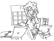 Bookkeeper. Black and white illustration: bookkeeper sitting at desk in front of computer and speaking on the phone vector illustration