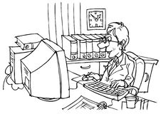 Bookkeeper. Black and white illustration: bookkeeper sitting at desk in front of computer vector illustration