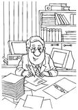 Bookkeeper. Black and white illustration: bookkeeper sits at desk and writes on paper sheet stock illustration