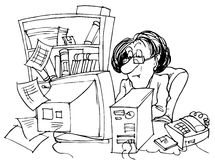 Bookkeeper. Black and white illustration: bookkeeper sitting at desk in front of computer royalty free illustration