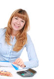 Bookkeeper. Smiling bookkeeper isolated over white stock photos