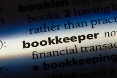 Bookkeeper. Word in a dictionary.  concept stock images