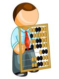 Bookkeeper icon. Illustration of business man with abacus, isolated on white background royalty free illustration