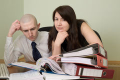 Bookkeeper and the secretary on a workplace Royalty Free Stock Photography