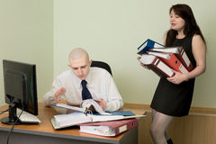 Bookkeeper and the secretary on a workplace. The bookkeeper and the secretary on a workplace at office royalty free stock photography