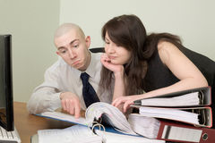 Bookkeeper and the secretary on a workplace Stock Photos