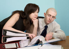 Bookkeeper and the secretary on a workplace Royalty Free Stock Photo