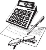 Bookkeeper. Subjects of attribute of the accountant. drawing on paper stock illustration