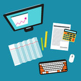 Bookkeeper Vector illustration. Desktop of accountant: a computer, a calculator, rulers, account and graphics Top view Flat design royalty free illustration