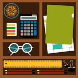Bookkeeper Vector illustration. Objects and tools for the accountant job: calculator, documents, stationery, glasses and plants in cells Top view royalty free illustration