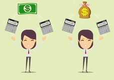 Accountant at work. Savings, finances and economy concept. Bookkeeper at work. female accountant or banker making calculations. Savings, finances and economy stock illustration