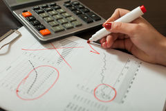 Bookkeeper works with accounting balance sheet Royalty Free Stock Photo
