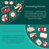 Bookkeeping card templat. E with vector flat icons for web and print. Finance, accounting and auditing, economic and business illustration Stock Image