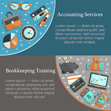 Bookkeeping card template. With vector flat icons for web and print. Finance, accounting and auditing, economic and business illustration Stock Photos