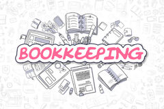 Bookkeeping - Cartoon Magenta Text. Business Concept. Stock Photos