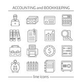Bookkeeping Flat Line Icons Set Stock Images