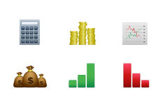 Bookkeeping icon set. Isolated bookkeeping icons on the white background Stock Photo