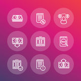 Bookkeeping line icons set, accounting, payroll Royalty Free Stock Photo