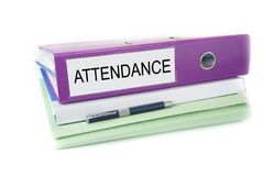 Bookkeeping office files in the folder with pen and blank sign. Attendance. Bookkeeping office files in the folder with pen and blank sign. Attendance stock photo
