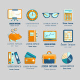 Bookkeeping vector flat icons. Stock Photography