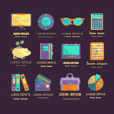 Bookkeeping vector flat icons. Royalty Free Stock Images