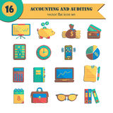 Bookkeeping vector flat icons. Stock Images