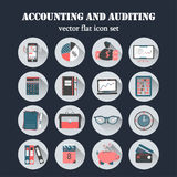 Bookkeeping vector flat icons. Finance, accounting and auditing, economic, business symbols. Business illustration Stock Photography