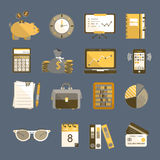 Bookkeeping vector flat icons. Stock Photos