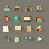 Bookkeeping vector flat icons. Finance, accounting and auditing, economic, business symbols. Business illustration Stock Image