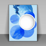 Booklet with blue watercolor spots Royalty Free Stock Photos