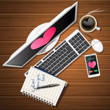 Booklet and computer with mobile phone and coffee cup Royalty Free Stock Photography
