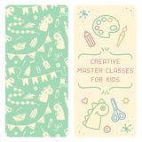 Booklet concept of creative master class for kids. Suitable for advertising or invitation vector illustration