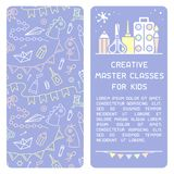 Booklet concept of information about creative master classes for kids. Suitable for advertisement or placard decor stock illustration
