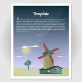 Booklet, flyer with a windmill vector illustration. Booklet, poster with a windmill vector illustration Royalty Free Stock Photography