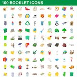 100 booklet icons set, cartoon style. 100 booklet icons set in cartoon style for any design illustration royalty free illustration
