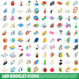 100 booklet icons set, isometric 3d style Stock Photography