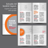 A4 booklet Layout Design Template with Cover. And 2 spreads of Contents Preview. For design magazine, book, annual report royalty free illustration