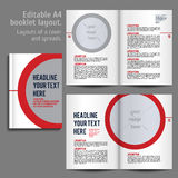 A4 booklet Layout Design Template with Cover. And 2 spreads of Contents Preview. For design magazine, book, annual report stock illustration