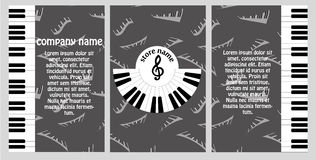 Booklet for the musical store. Flyer design in style of music with the clipboard and fashion presentation. Stock Images