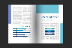 Booklet page layout. Minimalistic magazine, brochure, flyer, annual report template. Stock Photo