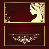 Booklet with the profile of a beautiful woman Royalty Free Stock Photos