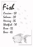 Booklet sales of fish for shop. S. It can be used as a menu of fish dishes in the cafe Royalty Free Stock Images